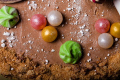 Superficie del dolce casalingo con la decorazione del nuovo anno Fotografia Stock