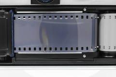 Superficie del fondo de la cámara abierta de la foto con la cinta gris fotografía de archivo libre de regalías