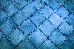 Superficie del fondo delle mattonelle blu Fotografia Stock