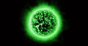 Superficie del verde de Sun con las llamaradas solares stock de ilustración