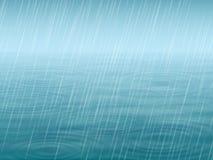 Superficie dell'acqua con la pioggia di caduta e dell'onda Fotografie Stock Libere da Diritti