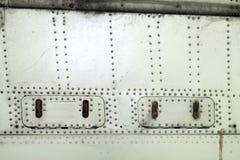 Superficie dell'alluminio della fusoliera di aerei Fotografia Stock