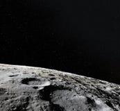 Superficie della luna 3d realistici rendono della luna e dello spazio Spazio e pianeta satellite necropolis Stelle Elementi di qu illustrazione di stock