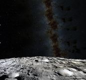 Superficie della luna 3d realistici rendono della luna e dello spazio Spazio e pianeta satellite necropolis Stelle Elementi di qu illustrazione vettoriale