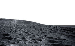 Superficie della luna La vista dello spazio del pianeta Terra isolato rappresentazione 3d Immagine Stock