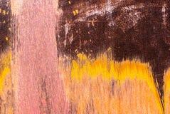 Superficie di ferro arrugginito con i resti di vecchio fondo di struttura della pittura Fotografia Stock Libera da Diritti