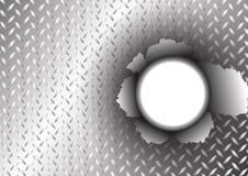 Superficie di metallo e fondo del foro dello strappo illustrazione vettoriale