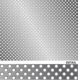 Superficie di metallo spazzolata con i fori. Immagine Stock