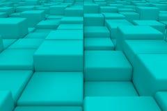 Superficie diagonal hecha de cubos ciánicos Imagenes de archivo