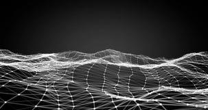 Superficie digital dinámica blanca de la representación 3d del plexo abstracto de la tecnología en el fondo negro, forma geométri ilustración del vector