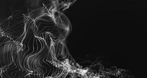 Superficie digital dinámica blanca de la representación 3d del plexo abstracto de la tecnología en el fondo negro, forma geométri libre illustration