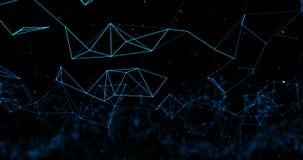 Superficie digital dinámica de la representación 3d del plexo abstracto azul de la tecnología en el fondo negro, forma geométrica stock de ilustración