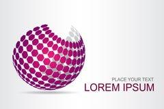 Superficie esférica estilizada del logotipo con formas abstractas Imagen de archivo