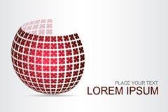 Superficie esférica estilizada del logotipo con formas abstractas Imagen de archivo libre de regalías