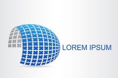 Superficie esférica estilizada del logotipo con formas abstractas Imagenes de archivo