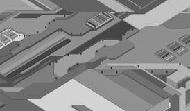 Superficie futuristica di basso poli elementi e parti Illustrazione di vettore nello stile di isometry Fondo illustrazione di stock