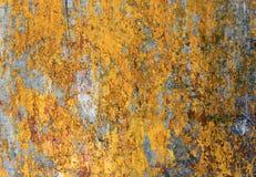 Superficie gialla calda verniciata Fotografia Stock