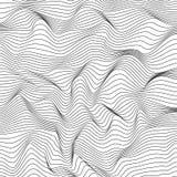 Superficie ondulada dinámica abstracta Rayas onduladas del wireframe blanco y negro EPS 10 stock de ilustración