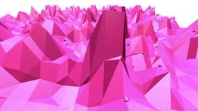 Superficie oscilante polivinílica baja atractiva o rosada como ambiente popular Ambiente vibrante geométrico poligonal rojo o stock de ilustración