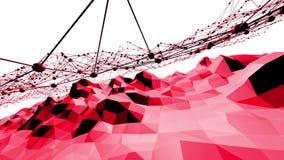 Superficie oscilante polivinílica baja atractiva o rosada como contexto abstracto Ambiente vibrante geométrico poligonal rojo o ilustración del vector