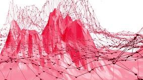 Superficie oscilante polivinílica baja atractiva o rosada como estructura del átomo Ambiente vibrante geométrico poligonal rojo o ilustración del vector
