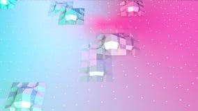 Superficie poli bassa rosa blu semplice astratta 3D e cristalli bianchi volanti come fondo di modo Poli basso geometrico morbido illustrazione di stock