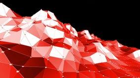 Superficie poli bassa rossa d'ondeggiamento astratta come maglia di cristallo nella poli progettazione bassa alla moda Fondo poli illustrazione di stock