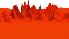 Superficie poli bassa rossa d'ondeggiamento astratta come paesaggio archivi video