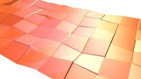Superficie poli bassa semplice 3D come griglia di cristallo Poli fondo basso geometrico molle di moto di spostamento del rosso ro royalty illustrazione gratis