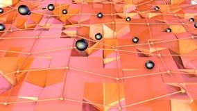 Superficie polivinílica baja 3D con rejilla o la malla del vuelo y esferas negras como ambiente del arte Fondo polivinílico bajo  libre illustration