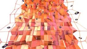 Superficie polivinílica baja 3D con rejilla o la malla del vuelo y esferas negras como campo cibernético Fondo polivinílico bajo  stock de ilustración