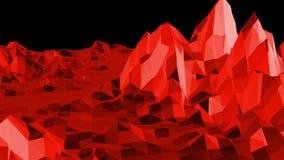 Superficie polivinílica baja roja abstracta como ambiente de la matemáticas en diseño polivinílico bajo elegante Fondo poligonal  almacen de video