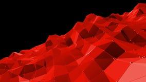 Superficie polivinílica baja roja que agita abstracta como ambiente químico en diseño polivinílico bajo elegante Fondo poligonal  almacen de metraje de vídeo
