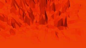 Superficie polivinílica baja roja que agita abstracta como paisaje digital en diseño polivinílico bajo elegante Fondo poligonal d almacen de metraje de vídeo