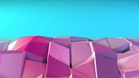 Superficie polivinílica baja rosada azul simple abstracta 3D como ciberespacio futurista Fondo polivinílico bajo suave del movimi almacen de metraje de vídeo