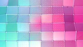 Superficie polivinílica baja rosada azul simple abstracta 3D y cristales blancos que vuelan como alivio fantástico Polivinílico b ilustración del vector