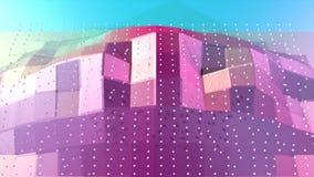 Superficie polivinílica baja rosada azul simple abstracta 3D y cristales blancos que vuelan como alivio futurista Polivinílico ba ilustración del vector