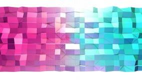 Superficie polivinílica baja rosada azul simple abstracta 3D y cristales blancos que vuelan como ambiente del fractal Polivinílic almacen de metraje de vídeo