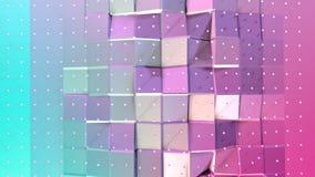 Superficie polivinílica baja rosada azul simple abstracta 3D y cristales blancos que vuelan como ambiente futurista Punto bajo ge ilustración del vector