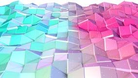 Superficie polivinílica baja rosada azul simple abstracta 3D y cristales blancos que vuelan como ambiente Polivinílico bajo geomé libre illustration