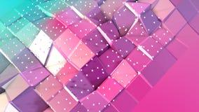 Superficie polivinílica baja rosada azul simple abstracta 3D y cristales blancos que vuelan como ambiente químico Polivinílico ba ilustración del vector