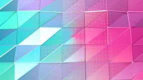 Superficie polivinílica baja rosada azul simple abstracta 3D y cristales blancos que vuelan como célula cristalina Polivinílico b ilustración del vector