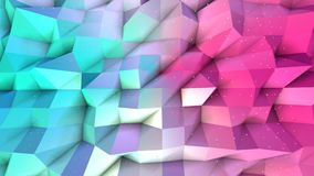 Superficie polivinílica baja rosada azul simple abstracta 3D y cristales blancos que vuelan como campo cibernético Polivinílico b ilustración del vector
