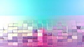 Superficie polivinílica baja rosada azul simple abstracta 3D y cristales blancos que vuelan como ciberespacio futurista Punto baj stock de ilustración