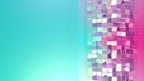 Superficie polivinílica baja rosada azul simple abstracta 3D y cristales blancos que vuelan como ciberespacio futurista Punto baj libre illustration