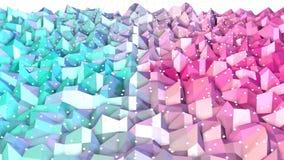 Superficie polivinílica baja rosada azul simple abstracta 3D y cristales blancos que vuelan como contexto Fondo polivinílico bajo libre illustration