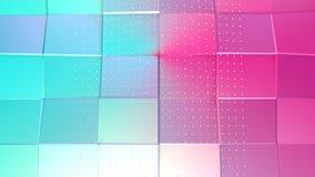 Superficie polivinílica baja rosada azul simple abstracta 3D y cristales blancos que vuelan como estructura del átomo Polivinílic stock de ilustración