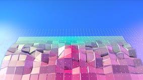 Superficie polivinílica baja rosada azul simple abstracta 3D y cristales blancos que vuelan como estructura geométrica Poliviníli libre illustration