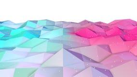 Superficie polivinílica baja rosada azul simple abstracta 3D y cristales blancos que vuelan como fondo único Polivinílico bajo ge ilustración del vector