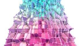 Superficie polivinílica baja rosada azul simple abstracta 3D y cristales blancos que vuelan como fondo cibernético Polivinílico b ilustración del vector